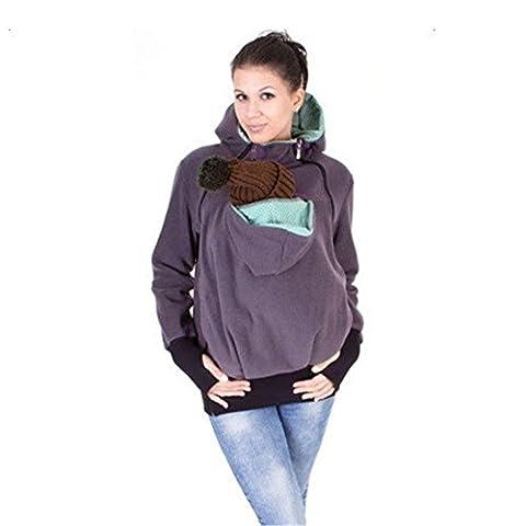 VANELIFE Sweatshirt à capuche de maternité, porte-bébé kangourou, chaleureux et confortable, 3 tailles (M)