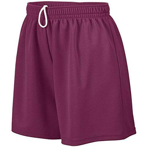 Girl's Wicking Mesh Short MAROON L (Mesh Mädchen Wicking Augusta)
