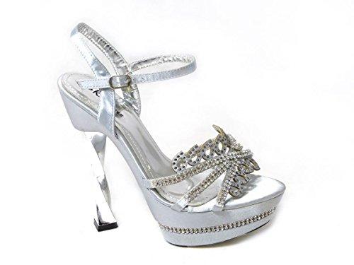 SKOS , Sandales pour femme Silver (0988-3)