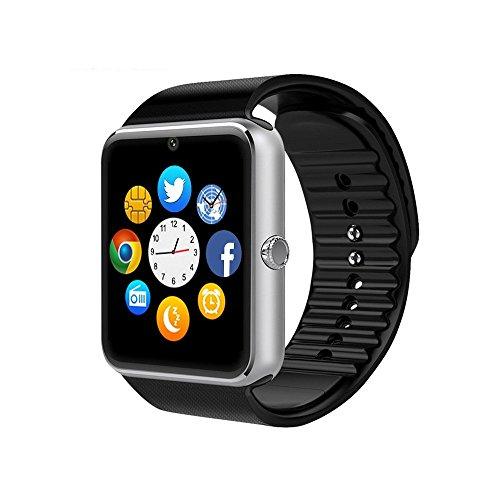 viwel smartwatch Bluetooth Smart Watch Smartphone Bracciale con telecamera Touch screen supporto SIM/TF per Android Samsung HTC LG Huawei Sony Orologio Sportivo(Argento)