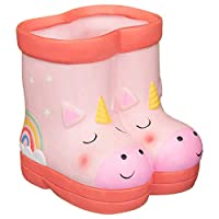 A2Z Home Solutions Brighten Up Your Summer With Decorative Feature Kids Ceramic Welly Planter Flowers Pot Backyard Garden Ornament -Unicorn