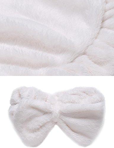 EKOUAER Damen Warmer Bademantel Saunakilt Mikrofaser Coral Fleece Saunamantel mit Haarband in 4 Farben Weiß