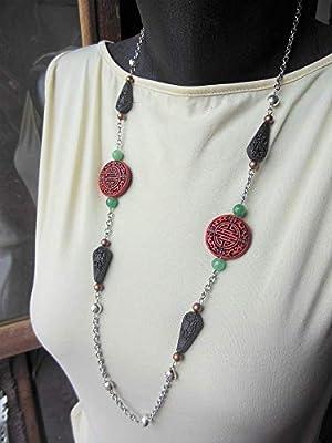 Collier chinois en cinabre rouge noir et aventurine