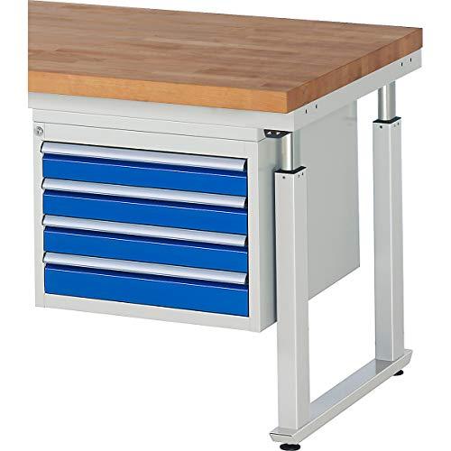 RAU Unterbau-Schubladencontainer, BxT 580 x 650 mm, für Tisch-Serie 600, Schubladenhöhe 4 x 90 mm...