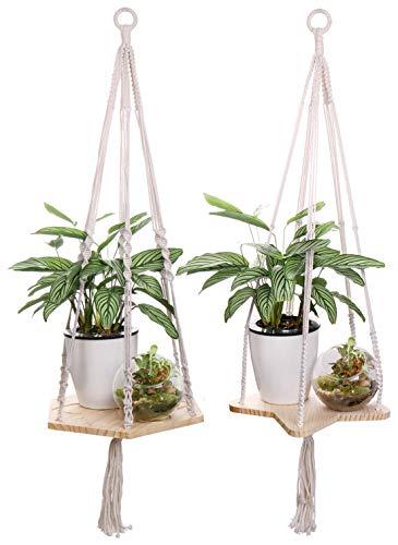 Luxbon 2er Set Makramee Regal Blumenampel Pflanzenaufhänger Hängendes Pflanzgefäß für Innen Wand Dekoration (Pentagramm + Hexagon Bord)