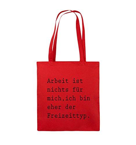 Comedy Bags - Arbeit ist nichts für mich, ich bin ehr der Freizeittyp - Jutebeutel - lange Henkel - 38x42cm - Farbe: Schwarz / Silber Rot / Schwarz