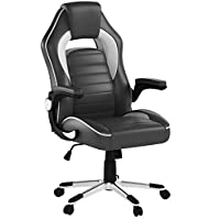 IntimaTe WM Heart Gaming Chair, High Back PU Executive Office Chair Swivel Desk Chair Ergonomic Design, Adjustable Armrest Tilt Mechanism (Grey)