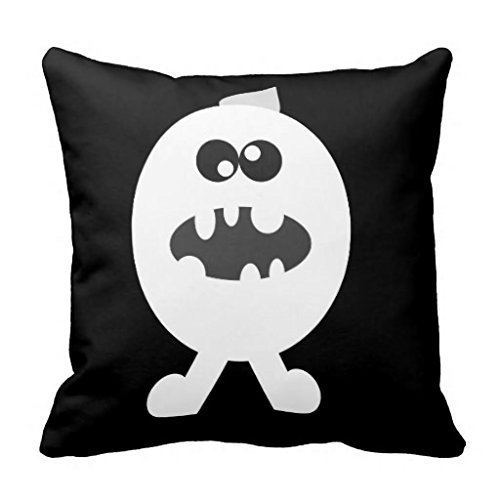 ZKHTO Pastoral Style Decorative Throw Pillow Cover Cushion Case Black & White Halloween,Cover Size:18 x 18 Inch(45cm x 45cm)