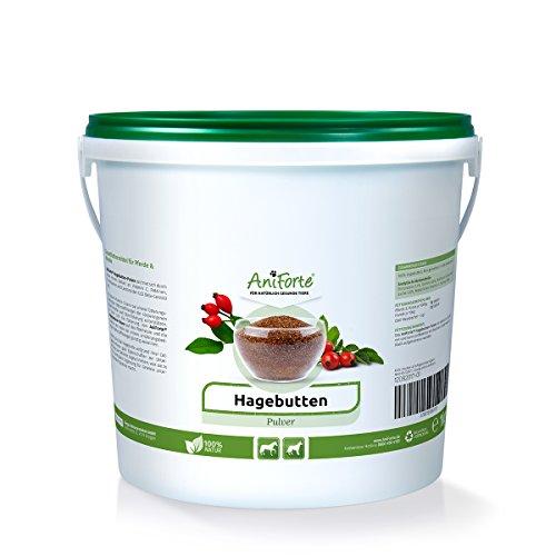 AniForte Premium Hagebuttenpulver 1 kg naturrein Glutenfrei- Naturprodukt für Hunde, Katzen und Pferde