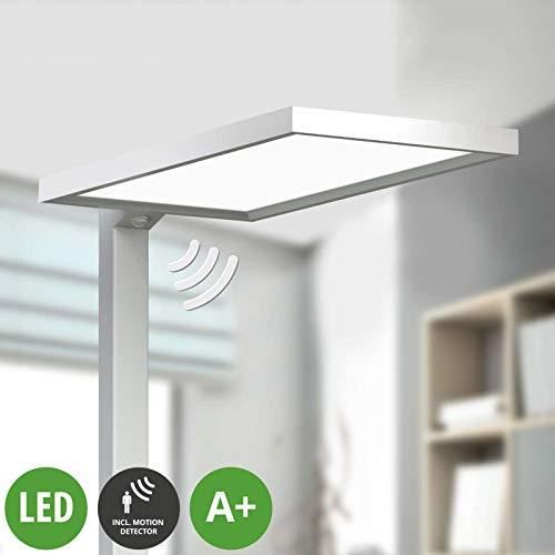 Lampenwelt LED Stehlampe \'Dorean\' dimmbar (Modern) aus Aluminium u.a. für Arbeitszimmer & Büro (2 flammig, A+, inkl. Leuchtmittel) - Büro-Stehleuchte, Bürolampe, Arbeitsplatzlampe, Standleuchte