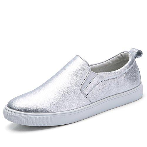 HKR-505yinse40 Damen Schlupf Flache Halbschuhe Bequeme Fahren Schuhe Runde Zehen Hoch Plateau Fashion Sportschuhe Silber EU 39-39.5
