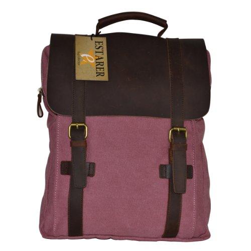 Vintage Rucksack,Estarer Canvas Leder Daypack/Laptoprucksack 15 Zoll Rosa rose