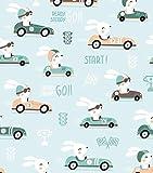 Baumwollstoff Kinderstoff Hase Auto Mint Breite 160cm ab 50