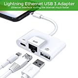 Lightning zu RJ45 10/100Mbps Ethernet LAN Kabel,Lightning Auf USB 3 Camera SD Kartenlese,OTG-Adapter Laden und Datensynchronisation für iPhone & iPad,benötigt iOS 10.0 oder höher (Weiß)