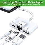 3 in 1 Lightning zu RJ45 10/100Mbps Ethernet LAN Kabel ,Lightning Auf USB Camera SD Kartenlese,Plug and Play Blitz auf USB 3 OTG-Adapter kabel laden und Datensynchronisation für iPhone & iPad Serie,benötigt iOS 10.0 oder höher (Weiß)