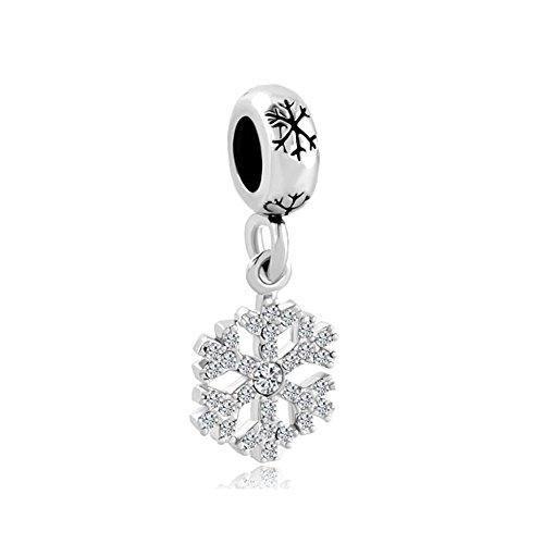 Uniqueen Charm-Perle für Pandora-Armbänder, Schneeflocken-Design, Anhänger, Geburtsstein-Kristall, klar - Kristall-schneeflocke