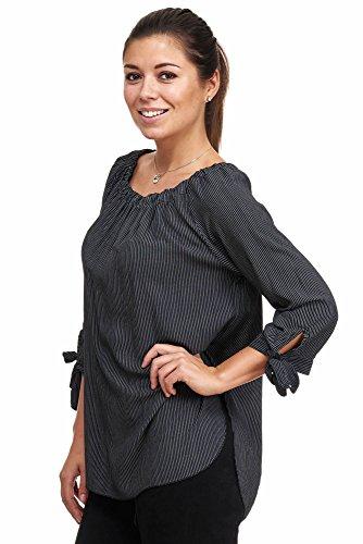 Jillymode Elegante Damen Tunika gestreift A1208 A1208-Schwarz