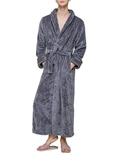 Polaire Unisexe Couple Pyjama Kimono Robe de Chambre Bathrobe Nightgown Vêtements de Nuit pour Hotal Spa Homewear Romper Sleepsuit Gris (Hommes) Medium