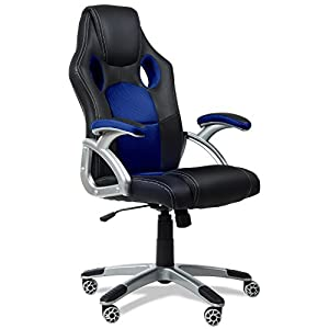 RACING – Silla de Oficina Racing Gaming, sillon de Despacho escritorio Gamer color Azul con reposabrazos y ajustable, 4 ruedas