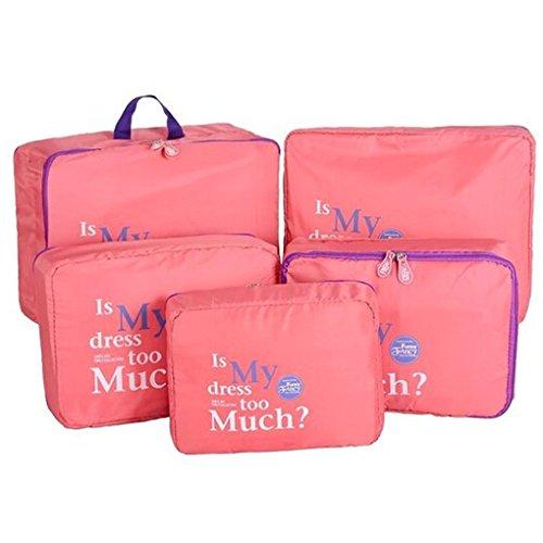 Shopper Joy Nylon 5 Pezzi Organizer per Valigie Cubi di Imballaggio Borse da Viaggio - Rosso