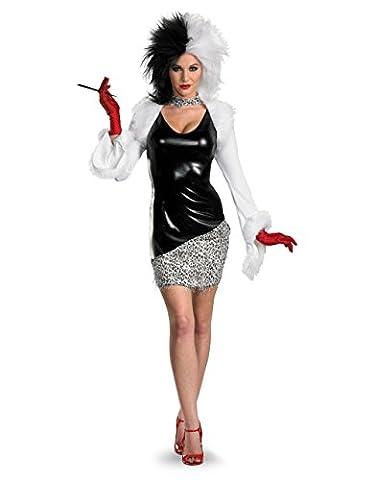 Costume de Cruella d'Enfer pour femme, pour déguisement 101dalmatiens, petit, USA (4–6), poitrine 83,8–88,9cm Taille 61–66cm