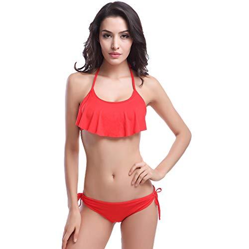 Red Sable Set (CRBH-FZ FZBikini Swimsuit, hochwertiger Stoff, hohe Elastizität, Brust, Sable, Blütenblatt, Bikini, Badeanzug, 10 Farben (alle für S, M, L Frauen),red,OneSize)