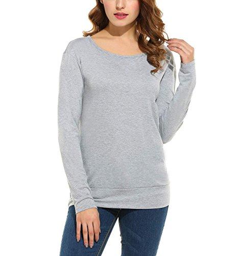 ZEARO Shirt Damen Hinter Hohl Rückenfrei Sexy Lange Ärmel Kurz Einfarbig  Bluse Grau