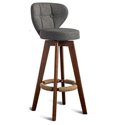 Lrzs-furniture nordic bar chair modern simple household bar schienale per sedie sgabello high-legged in legno massello sgabello a gamba alta (colore : gray, dimensioni : 64cm)