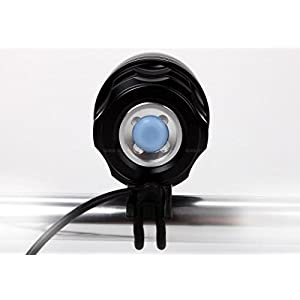 Theoutlettablet® Luz delantera - Foco frontal para Bici 11.000 lúmenes Linterna LÁMPARA TORCH frontal 7x CREE XML T6 Plus LED de bicicleta /bici lámpara Luz LED frontal para manillar de bicicletas (7 leds, 11.000 Lumens) con batería arnes cabeza y cargador COLOR NEGRO