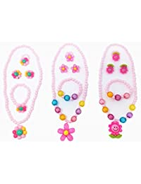 Honbay 3 Sets Differnet Style Kids Girls Necklace Bracelet Earring Finger Ring Party Favor Jewelry Pendant Set