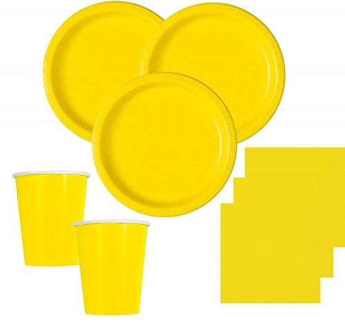 50 Teile Party Deko Set Neon Gelb für 14 Personen