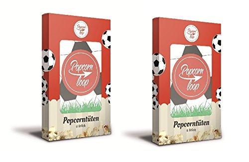Preisvergleich Produktbild Popcornloop Zubehör bestehend aus 12x Fußball Popcorntüten in 2 Packungen á 6 Tüten. Selbst Frisch Zubereiten - Ein Gesunder Snack - Individuell Würzen - Einfach Lecker - Popcorn wie im Kino! ...