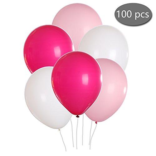 Shanke 100pcs Globos de Fiesta para Cumpleaños, Bodas, Navidad, Reunión Ceremonia (Rosa Blanco)