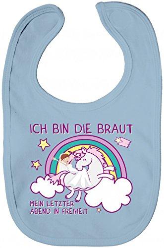 Shirt Happenz JGA #9 Lätzchen | Einhorn | Junggesellinnenabschied | Ich Bin Die Braut | Sabberlätzchen | Baby-Lätzchen, Farbe:Babyblau (Dusty Blue BZ12);Größe:Onesize