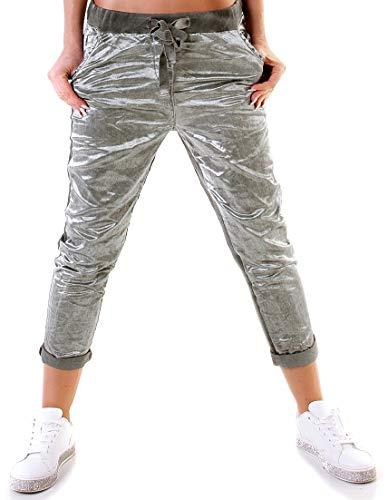 f4y Damen 5-Pocket Glossy Baggy Hose - Size 36-38 - Used-Look - Boyfriend-Style - Flanking-Trend -