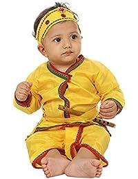 FOCIL Yellow Krishna Dhoti Kurta Dress For Kids (Pack of 4-Basuri,Mor Pankh Mukut,Bandhni Patka & Dhoti Kurta) (5-6 Years)