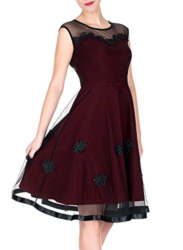 MIUSOL Abendkleid Mesh Brautkleid Retro Cocktailkleid Rockabilly Party 50er Jahr Kleid Weinrot - 3