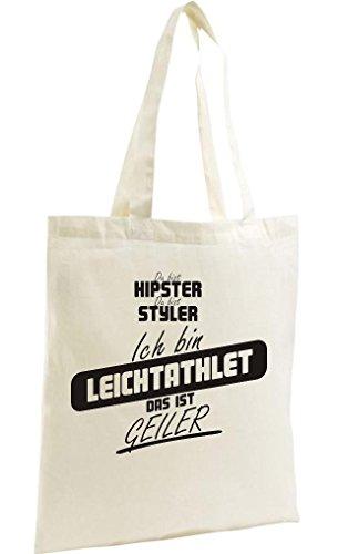 Shirtstown Shopping Bag Organic Zen, Shopper du bist hypster du bist styler ich bin Leichtathlet das ist geiler natur