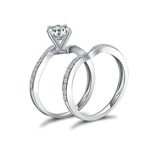 Daesar Ringe Silber 925 Damen 4-Steg-Krappenfassung Rund Brillant Weiß Zirkonia Kristall Ringe-Set Verlobung Ringe Ehering Silber Gr.65 (20.7)