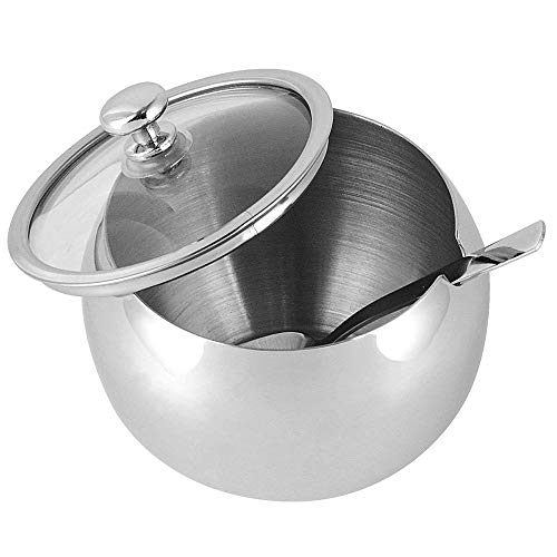 Sucrier, Dayoly Petit bol à sucre avec couvercle en verre, cuillère à sucre pour la maison et de cuisine, forme de tambour, contenance de 300 ml