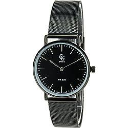 GG LUXE- Damen Armbanduhrschwarz Quarz Stahl Analog Display Typ Water resist 3 ATM stilvoll Sport Modus Armband milanese armband schwarzStahl