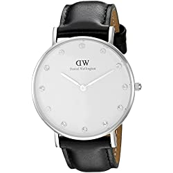 Daniel Wellington Women's Quartz Watch with White Dial Analogue Display and Black Leather Strap 0961DW