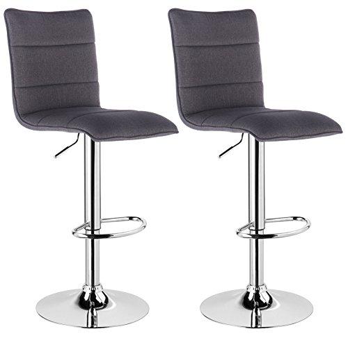 WOLTU® BH60dgr-2 2 x Barhocker Trensenhocker Barstuhl höhenverstellbar drehbar gepolstert Sitzfläche aus Leinen Dunkelgrau