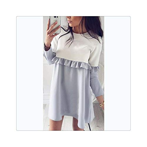 2019 Fashion Patchwork Ruffles Loose Spring Summer Dress Women Fall Causal Stitching Long Sleeve O-Neck Straight Mini Dresses Gray M