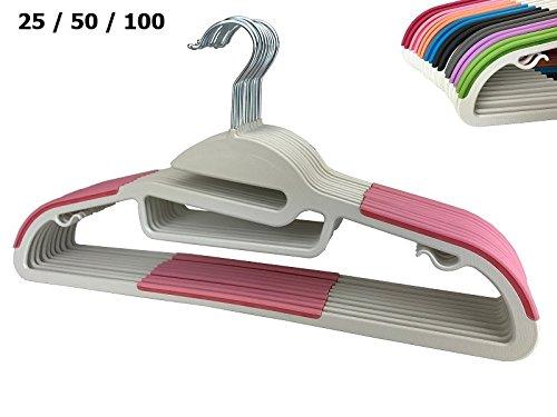 RSR Hangers 25 x Kunststoff Kleiderbügel Pink Antirutsch/hochwertiger Kunststoffkleiderbügel/360° drehbarer...