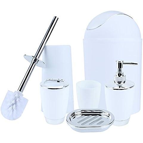 Yosoo 6 piezas de plástico Botellas de baño Accesorios de baño Set de baño Loción conjunto de accesorios de lujo, cepillo de dientes titular, Taza de dientes, jabonera, Cepillo de dientes, bote de basura ... (blanco)