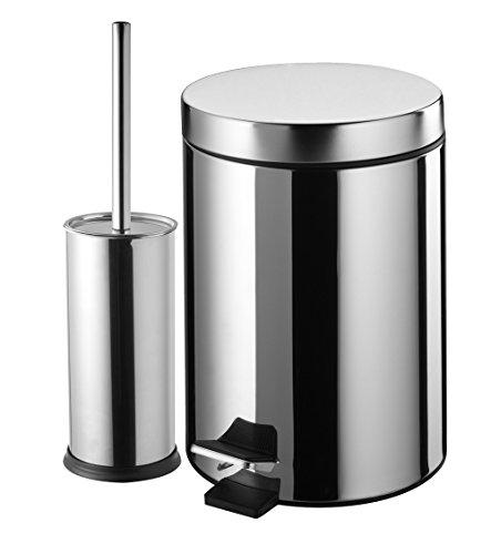 ESH EQUIPEMENT Kosmetikeimer Edelstahl 3Liter mit Pedal + WC-Bürste Edelstahl glänzend