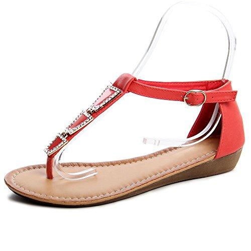 topschuhe24, Sandali donna Rosso (Sparkle Korall)