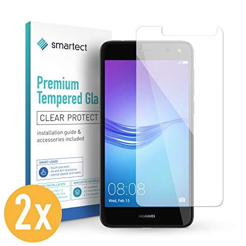 smartect 2X Protector de Pantalla de Cristal Templado para Huawei Y5 2017 Lámina Protectora Ultrafina de 0,3mm | Vidrio Robusto con Dureza 9H y Antihuellas Dactilares