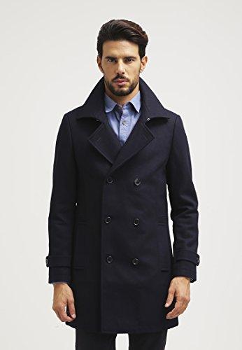 Pier One Wollmantel Herren in Schwarz, Grau o. Blau - Wollmantel kurz & elegant im Caban Stil - Zweireiher Mantel für Männer aus Wolle für den Winter Blau